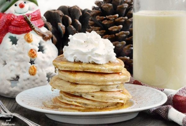 Delicious Dishes Recipe Party - Christmas Breakfast Recipes- Easy Egg Nog Pancakes from Meatloaf and Melodrama | CookingInStilettos.com