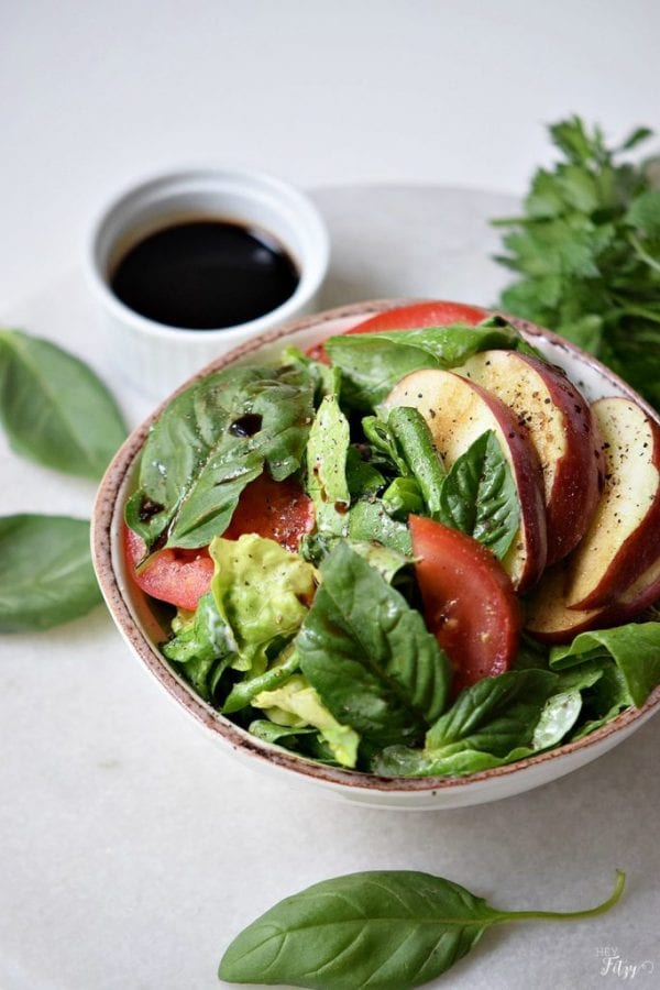Delicious Dishes Recipe Party - Light and Healthy Recipes - Apple Caprese Salad from Hey Fitzy | CookingInStilettos.com