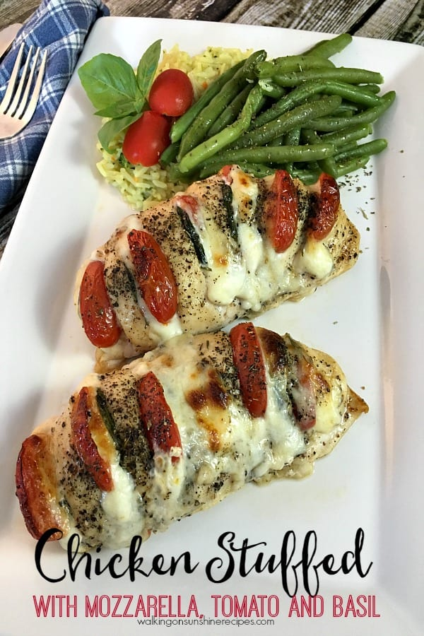 Delicious Dishes Recipe Party - Chicken Stuffed with Mozzarella, Tomato and Basil plated from Walking on Sunshine Recipes | CookingInStilettos.com