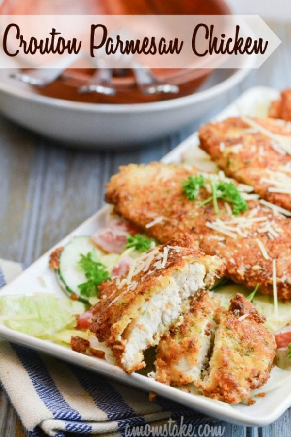 Delicious Dishes Recipe Party - Light and Healthy Recipes - Crouton Crusted Parmesan Chicken from A Mom's Take | CookingInStilettos.com