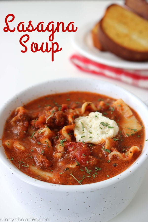 Delicious Dishes Recipe Party - Soup Recipes - Lasagna Soup from Cincy Shopper | CookingInStilettos.com