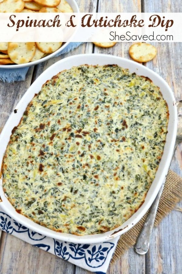Delicious Dishes Recipe Party - Our Favorite Recipes of 2016 - Hot Spinach and Artichoke Dip from She Saved | CookingInStilettos.com