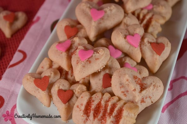 Delicious Dishes Recipe Party - Valentine's Day Recipes - Strawberry Valentine Spritz Cookies from Creatively Homemade | CookingInStilettos.com