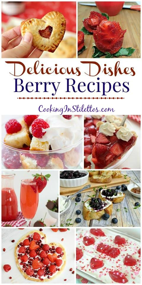 Surprise your love this Valentine's Day with one of these delicious sweet berry recipes at the Delicious Dishes Recipe Party on CookingInStilettos.com | Valentine's Day | Berry | Berries | Desserts