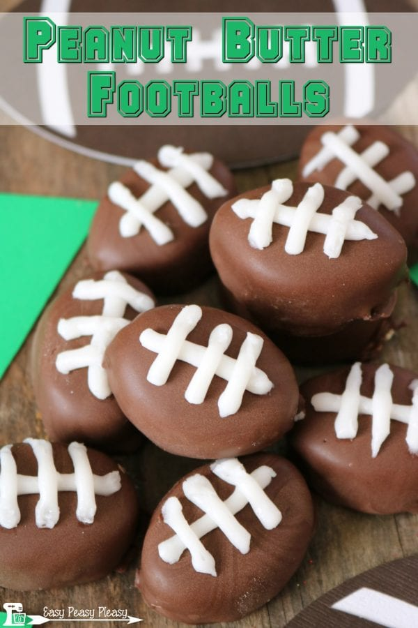 Delicious Dishes Recipe Party - Chocolate Recipes - Peanut Butter Footballs from Easy Peasy Pleasy | CookingInStilettos.com