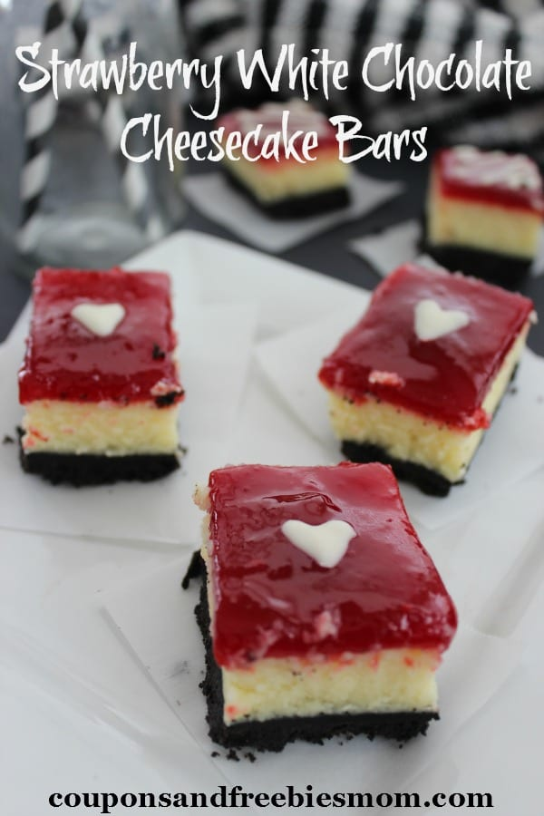 Delicious Dishes Recipe Party - Berry Recipes - Strawberry White Chocolate Cheesecake Bars from Coupons and Freebies Mom | CookingInStilettos.com