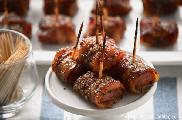Delicious Dishes Recipe Party - Easter and Spring Recipes - Bacon Wrapped Kielbasa Bites from What The Fork | CookingInStilettos.com