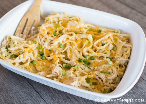 Delicious Dishes Recipe Party - Easter and Spring Recipes - Chicken Fettucine Casserole from Somewhat Simple | CookingInStilettos.com