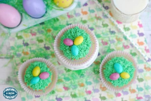 Delicious Dishes Recipe Party - Easter Desserts - Easter Egg Grass Cupcakes from More than a Mom of Three | CookingInStilettos.com