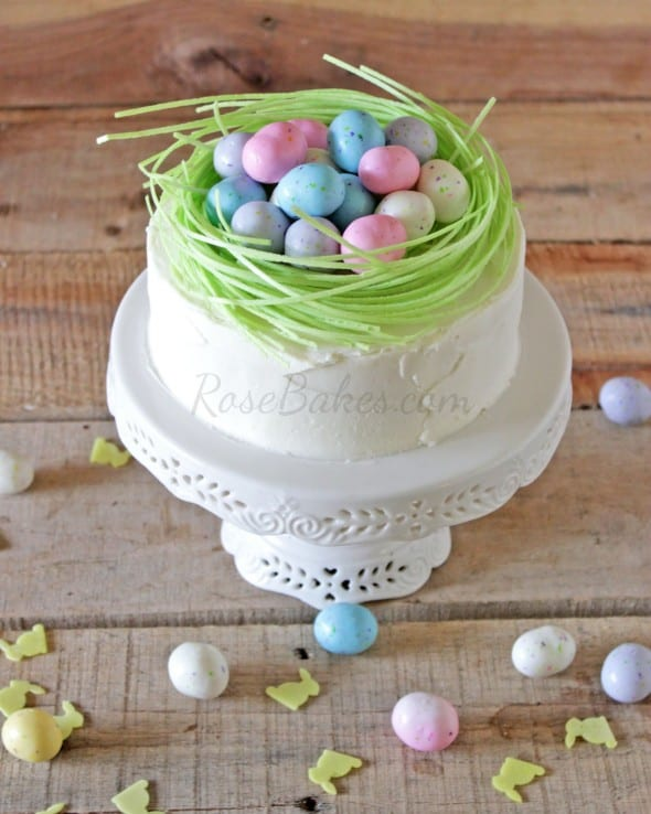 Delicious Dishes Recipe Party - Easter Desserts - Easter Egg Nest Cake from Rose Bakes | CookingInStilettos.com