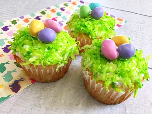 Delicious Dishes Recipe Party - Easter Desserts - Easter Nest Cupcakes from A Cultivated Nest | CookingInStilettos.com