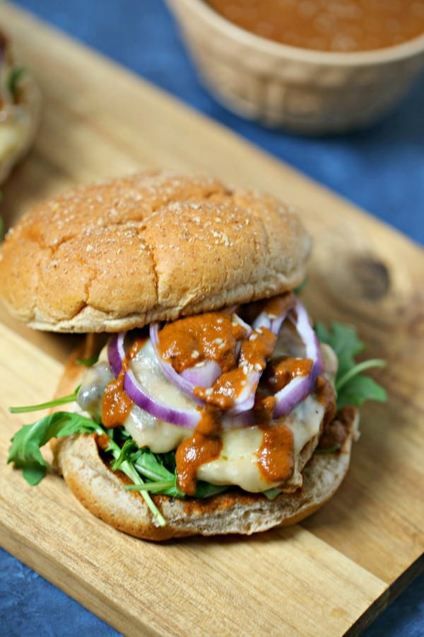 To celebrate #BurgerMonth this year, this Chicken Mole Burger from CookingInStilettos.com is packed with tons of flavor with a hint of heat and a secret ingredient. This is a burger recipe your family will love! Chicken | Mole | Burgers | Chiles | Grilling | Giveaway