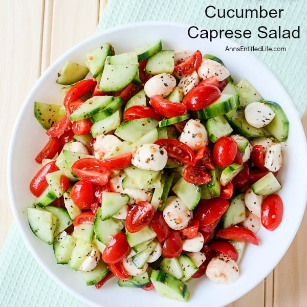 Delicious Dishes Recipe Party - Salad Recipes - Cucumber Caprese Salad from Ann's Entitled Life | CookingInStilettos.com