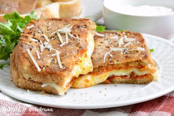 Delicious Dishes Recipe Party - Tasty Sandwiches - Parmesan Crusted Pepperoni Pizza Grilled Cheese from Meatloaf and Melodrama | CookingInStilettos.com