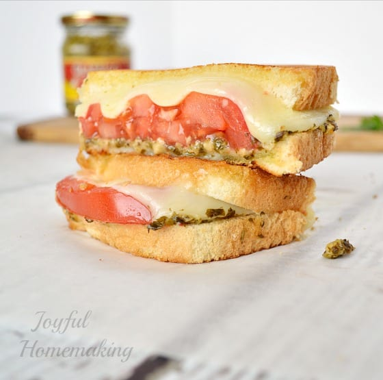 Delicious Dishes Recipe Party - Tasty Sandwiches - Pesto Tomato Mozzerella Grilled Cheese from Joyful Homemaking | CookingInStilettos.com