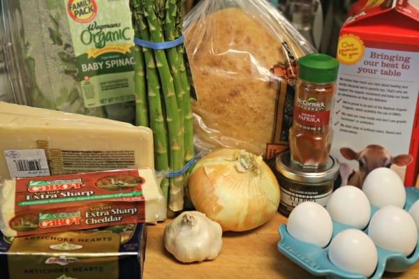 Spinach Artichoke and Asparagus Strata - Ingredients   CookingInStilettos.com