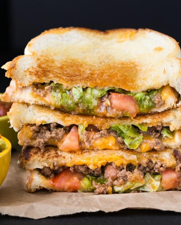 Delicious Dishes Recipe Party - Tasty Sandwiches - Taco Grilled Cheese from Simply Stacie | CookingInStilettos.com