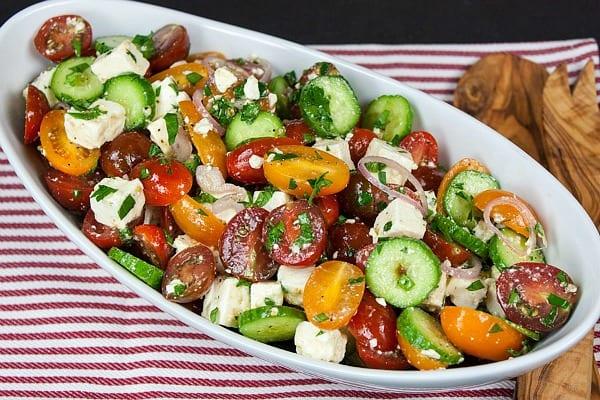 Delicious Dishes Recipe Party - Salad Recipes - Tomato Cucumber Feta Salad from Don't Sweat the Recipe | CookingInStilettos.com