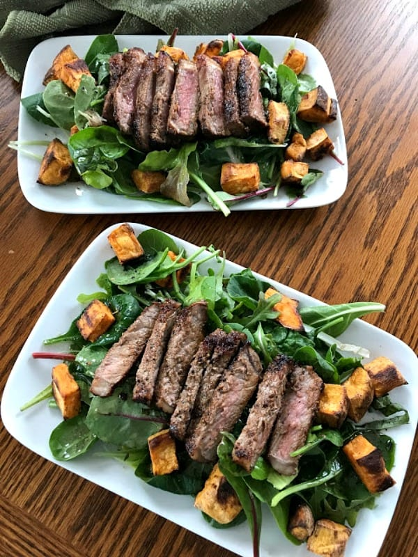 Delicious Dishes Recipe Party - Salad Recipes - Warm Steak and Sweet Potato Salad from Our Good Life | CookingInStilettos.com